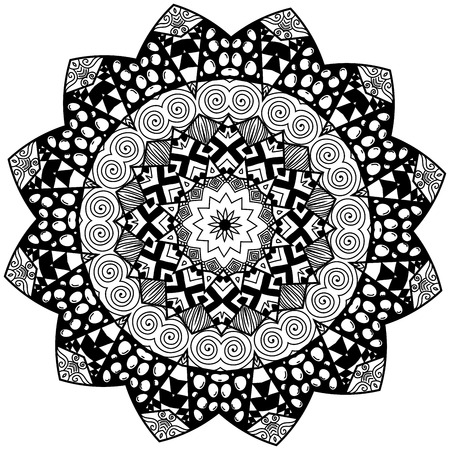 restful: Floral element in zendoodle style. Hand drawn mandala with hand drawn patterns. Zendoodle is self soothing activity.