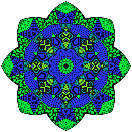 greenish blue: Decorative element. Mandala in crazy colors. Psychedelic design.