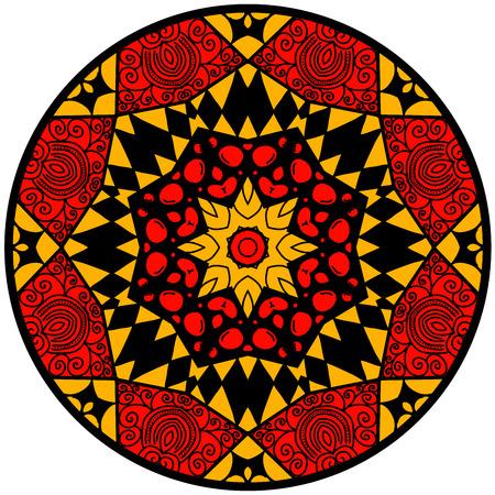 hallucinatory: Mandala. Round ornament pattern. Decorative element. Mandala in crazy colors. Psychedelic design. Reddish mandala. Illustration