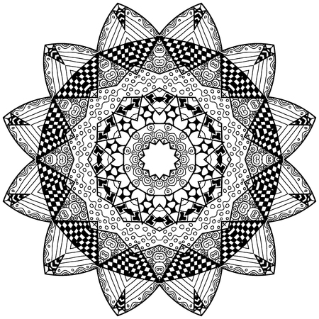 restful: Bloom element in zendoodle style. Hand drawn mandala with hand drawn patterns. Zendoodle is self soothing activity.