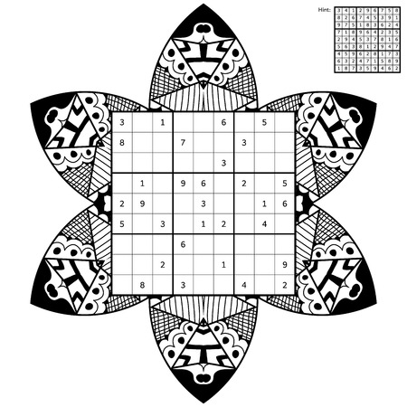 brain mysteries: Number place with answer and antistress coloring book. Magic square. Combinatorial number placement puzzle. Mandala frame of puzzle may be used as decoration or antistress coloring page.