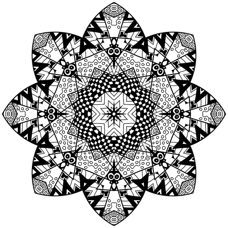 thrive: Floral doodle art mandala with hand drawn patterns. Mandala in zendoodle style. Mandala for adult coloring pages, t-shirt or prints.