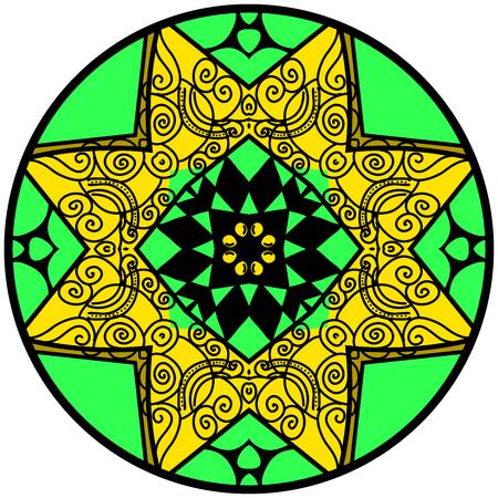hallucinatory: Mandala. Round ornament pattern. Decorative element. Mandala in crazy colors. Psychedelic design. Illustration