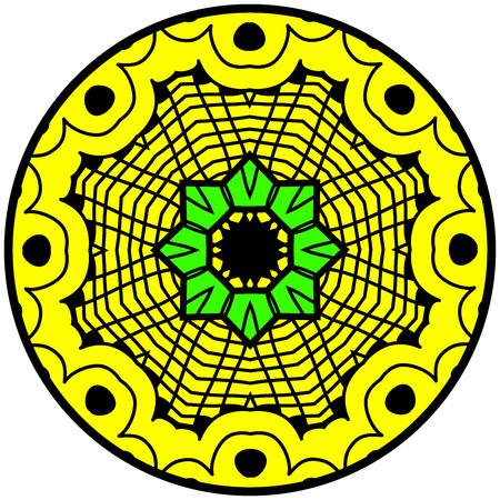 garabatos: Mandala. modelo ornamento redondo. Elemento decorativo. Mandala en colores locos. diseño psicodélico.