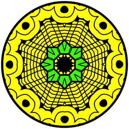 Mandala. Round ornament pattern. Decorative element. Mandala in crazy colors. Psychedelic design. Illustration