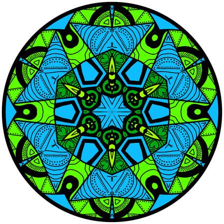 hallucinatory: Mandala. Round ornament pattern. Decorative element. Mandala in crazy colors. Psychedelic design. Bluish mandala.