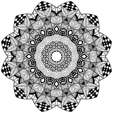Blossom element in zendoodle style. Hand drawn mandala with hand drawn patterns. Zendoodle is self soothing activity. Illustration