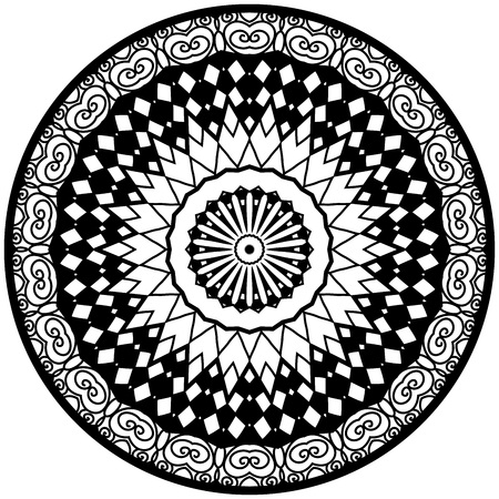 Mandala. Round ornament pattern. Decorative element. Mandala in black color. Mandala for anti stress adults coloring book. Mandala design. Illustration