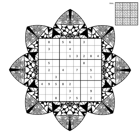 thrive: Number place with answer and antistress coloring book. Magic square. Combinatorial number placement puzzle. Mandala frame of puzzle may be used as decoration or antistress coloring page.