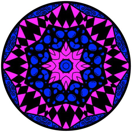 lunatic: Mandala. Round ornament pattern. Decorative element. Mandala in crazy colors. Psychedelic design. Mandala in blue and violet colors.