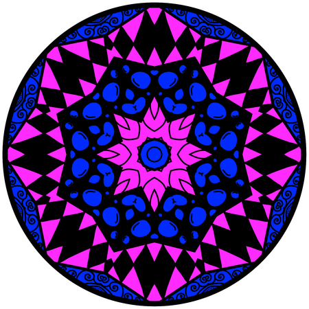 Mandala. Round ornament pattern. Decorative element. Mandala in crazy colors. Psychedelic design. Mandala in blue and violet colors.