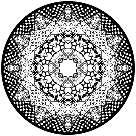 meditative: Mandala. Round ornament pattern. Decorative element. Mandala in black color. Mandala for anti stress adults coloring book. Mandala design. Illustration