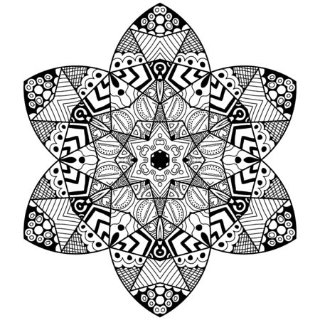 thrive: Mandala flowery element in zenart style. Hand drawn mandala with lots of different hand drawn patterns. Zenart adult coloring page.