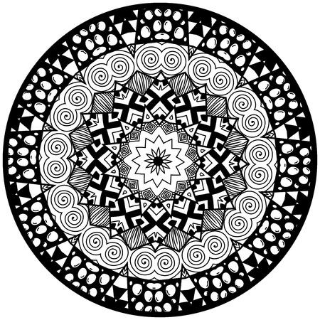 anti stress: Mandala. Round ornament pattern. Decorative element. Mandala in black color. Mandala for anti stress adults coloring book. Mandala design. Illustration