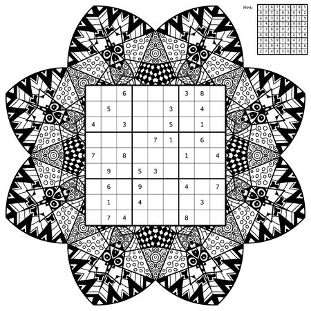 Number place with answer and antistress coloring book. Magic square. Combinatorial number placement puzzle. Mandala frame of puzzle may be used as decoration or antistress coloring page.