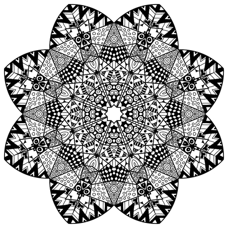 soothing: Floral element in zenart style. Hand drawn mandala with lots of different hand drawn patterns. Zenart adult coloring page. Zenart is self soothing activity. Illustration