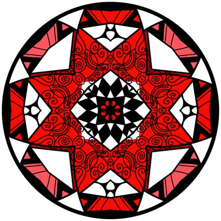 Mandala. Round ornament pattern. Decorative element. Mandala in crazy colors. Psychedelic design. Reddish mandala. Illustration