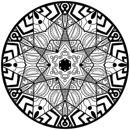 garabatos: Mandala. modelo ornamento redondo. Elemento decorativo. Mandala en color negro. Mandala para adultos anti estrés para dar color. diseño de la mandala. Vectores