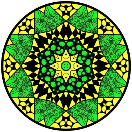 lunatic: Mandala. Round ornament pattern. Decorative element. Mandala in crazy colors. Psychedelic design. Mandala in yellow and green colors.