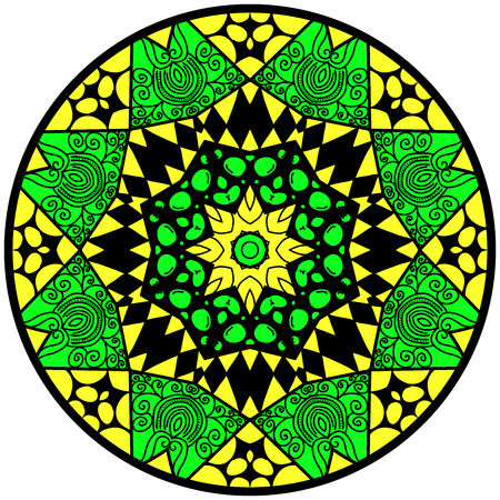 Mandala. Round ornament pattern. Decorative element. Mandala in crazy colors. Psychedelic design. Mandala in yellow and green colors.