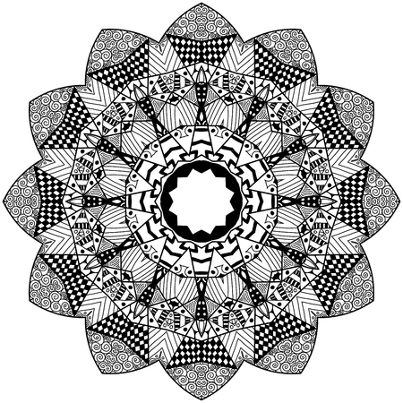 restful: Mandala element in zenart style. Hand drawn mandala with lots of different hand drawn patterns. Zenart adult coloring page. Mandala for adult coloring pages, t-shirt or prints. Illustration