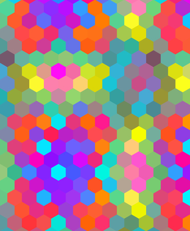 uniqueness: Crazy colorful background made by many hexagons Illustration
