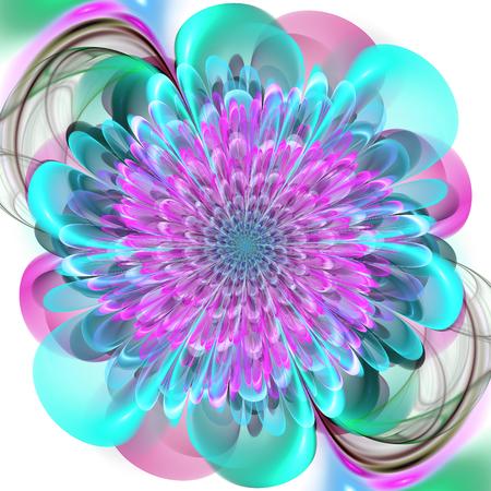 thrive: Abstract fractal. Crazy fractal shapes on white background. Fractal flower. Fractal art. Stock Photo