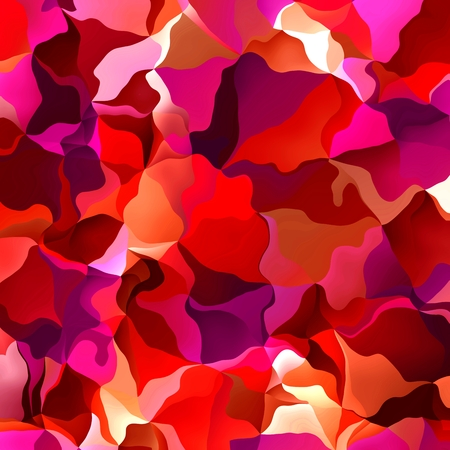 irregular shapes: Vibrant bold red and pink background pattern and texture with wavy irregular geometric shapes in a fusion of random color in square format