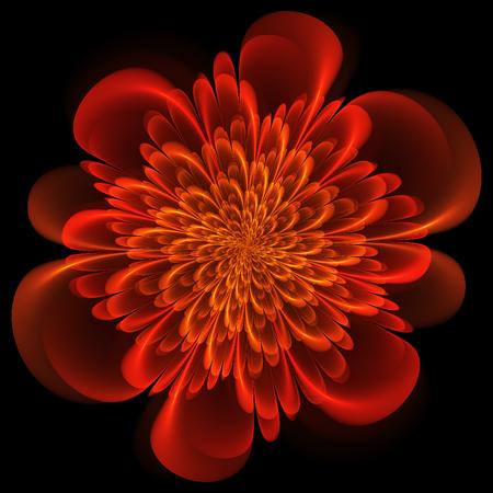 Fractal flower. Abstract fractal art in floral style. Orange fractal flower. Stock Photo