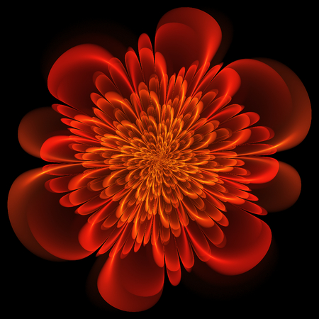 thrive: Fractal flower. Abstract fractal art in floral style. Orange fractal flower. Stock Photo