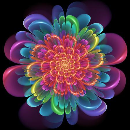 spectral colour: Retro style symmetrical colorful floral design with whorled spiral petals in blended color gradients of pink, purple, green, orange and yellow on a black background Stock Photo