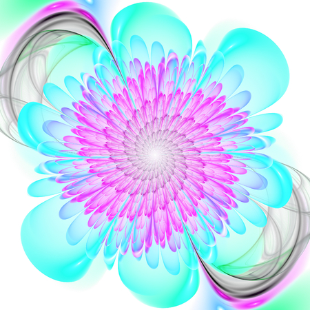 Abstract fractal. Crazy fractal shapes on white background. Fractal art. Fractal flower. Stock Photo