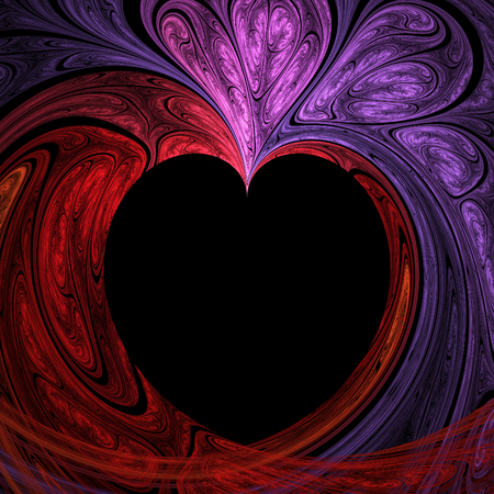 Abstract crazy fractal heart with black background. Fractal abstraction useful as wallpaper, print or anything else.