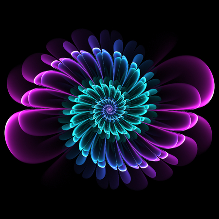 Retro style symmetrical fractal flourish design with whorled spiral petals in blended color gradients on a black background