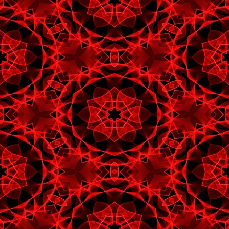 Crazy psychedelic motif as red seamless pattern