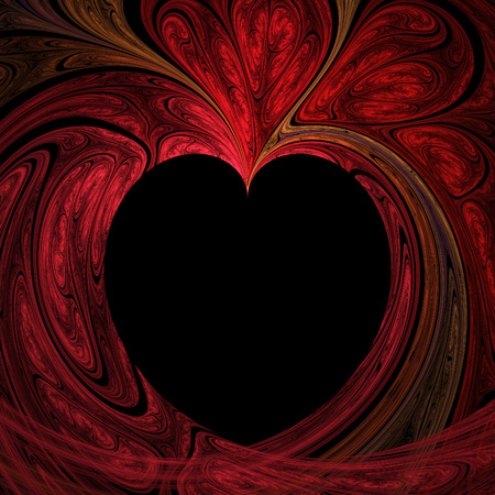 Abstract crazy fractal heart with black background Stock Photo