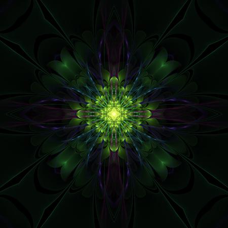 greenish: Dark green fractal flower on black background Stock Photo