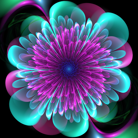 Fractal flower. Abstract fractal art in floral style. Stock Photo