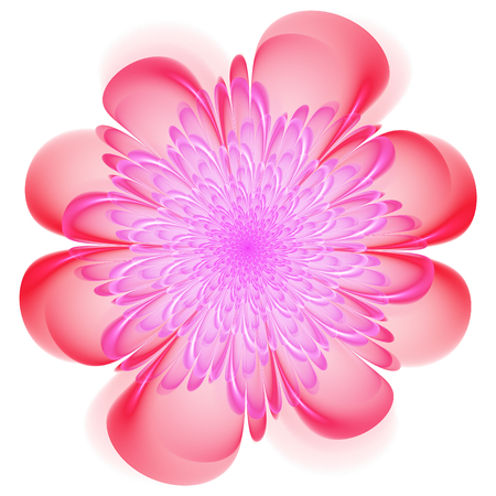 Retro style symmetrical fractal floral design with whorled spiral petals in blended color gradients on a white background Stock Photo