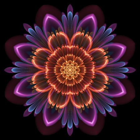 Bright orange and purple floral pattern tile as a symmetrical object over dark background
