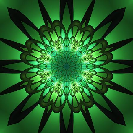 phantasy: Large green radiant circular flower shaped pattern for tiled symmetrical background
