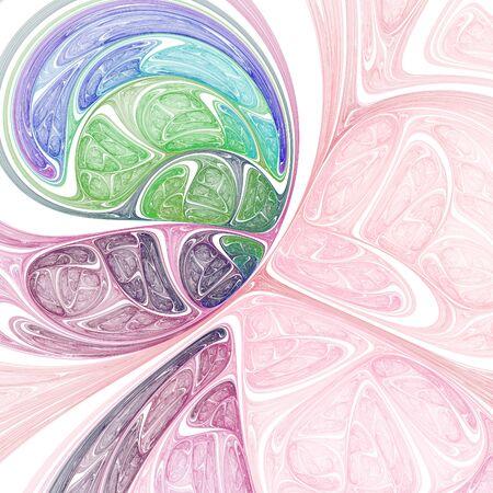 Surreal fractal art. Crazy fractal shapes on white background. Stock Photo