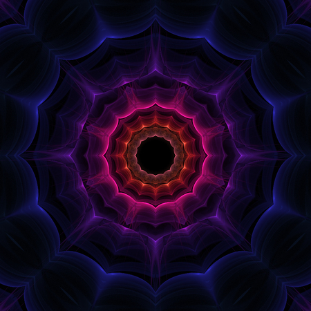 delirium: Abstract colorful fractal shape on black background Stock Photo
