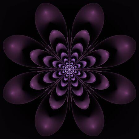 Dark violet fractal flower on black background