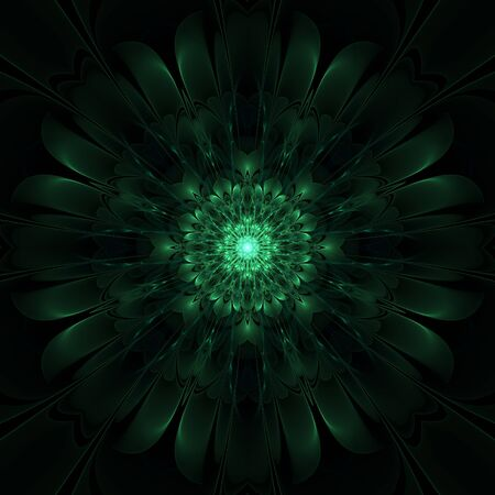 Green abstract fractal graphic design on black background Stock Photo