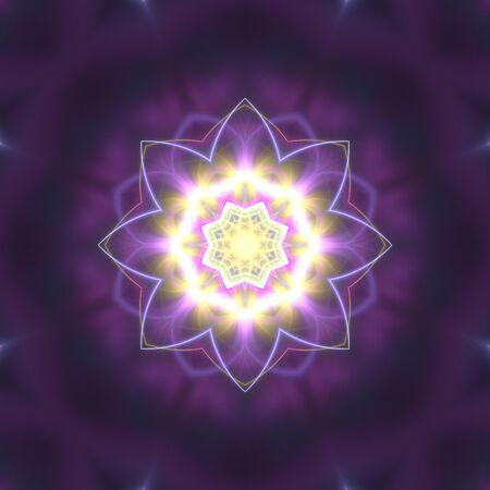 Yellow and mauve symmetrical kaleidoscope. Radiant floral shape over black background