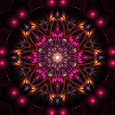 Dark charming colorful fractal flower on black background