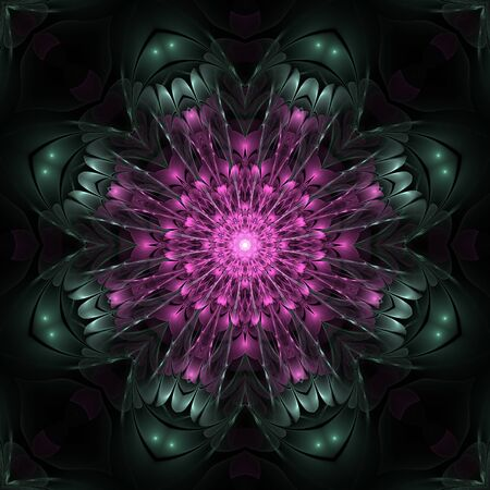 Abstract fractal graphic design on black background Stock Photo