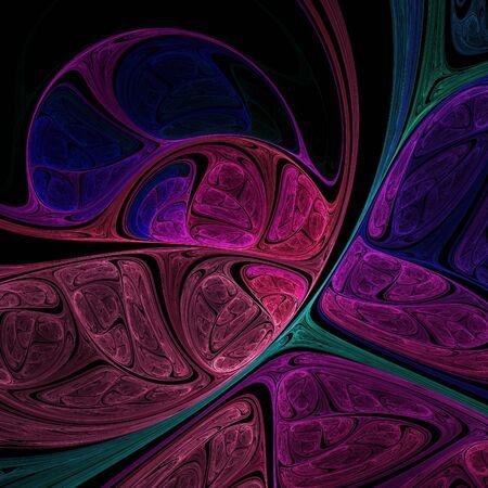 Surreal fractal art. Crazy fractal composition. Abstract fractal shapes on black background.