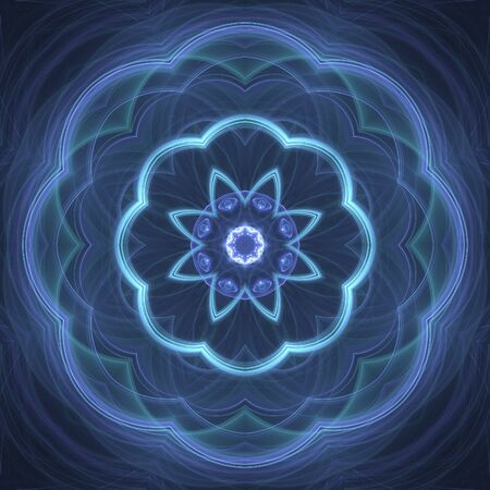 Dark blue neon flourish fractal on black background